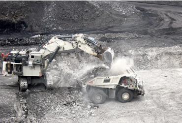 excavator loading